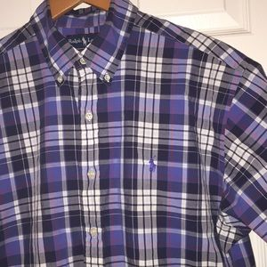 Ralph Lauren Plaid Short Sleeve Button Shirt Sz L